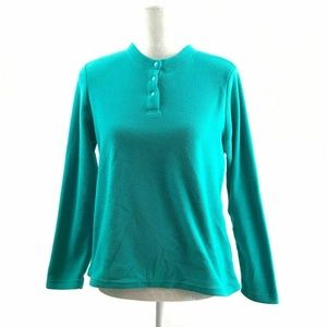 Lands End Small 6 8 Fleece Henley Sweater Teal